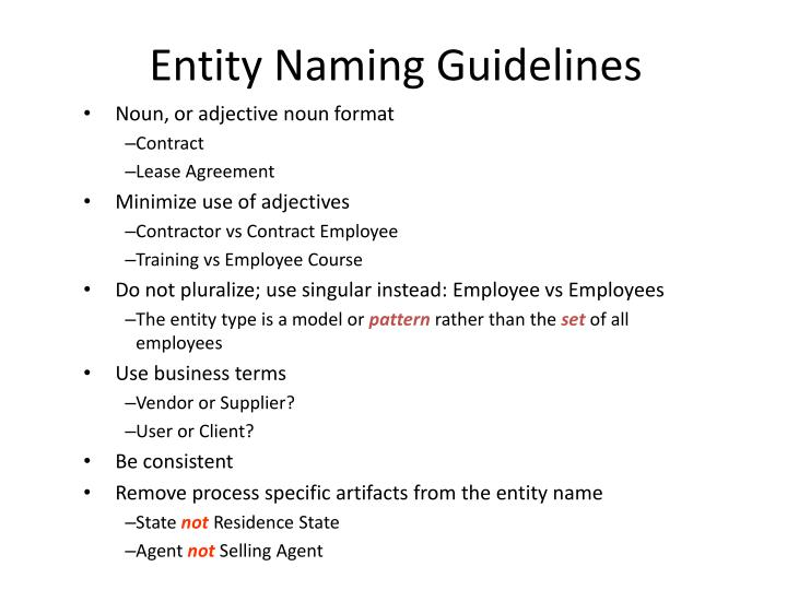 Entity Naming Guidelines