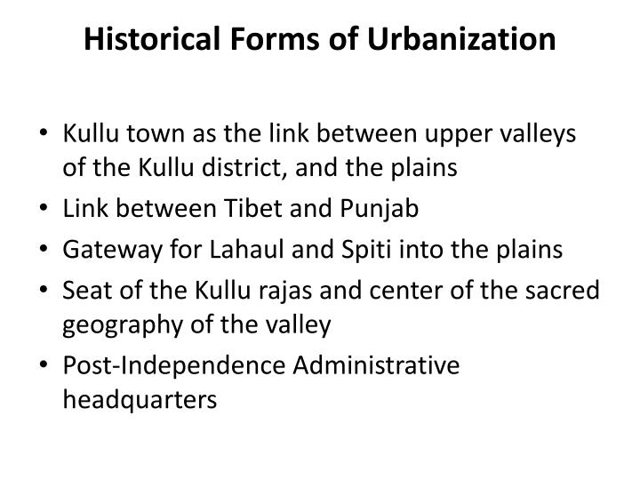 Historical forms of urbanization
