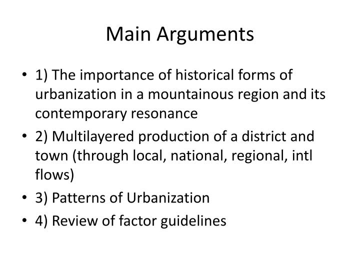 Main Arguments