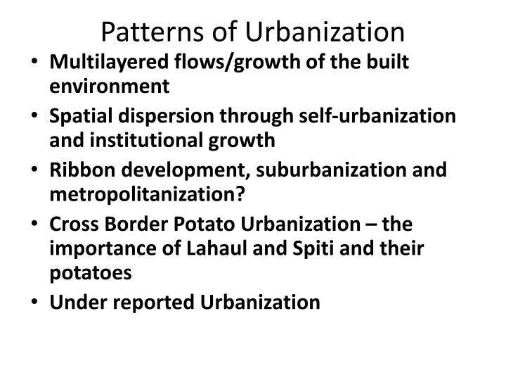 Patterns of Urbanization