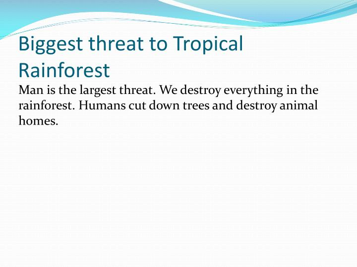 Biggest threat to Tropical Rainforest