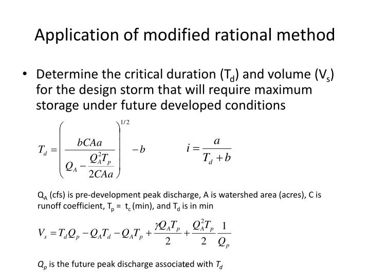 Application of modified rational method