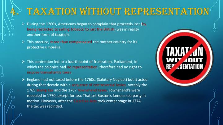 4.	Taxation without Representation