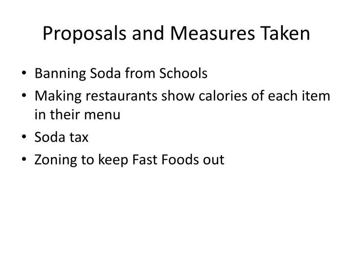 Proposals and Measures Taken