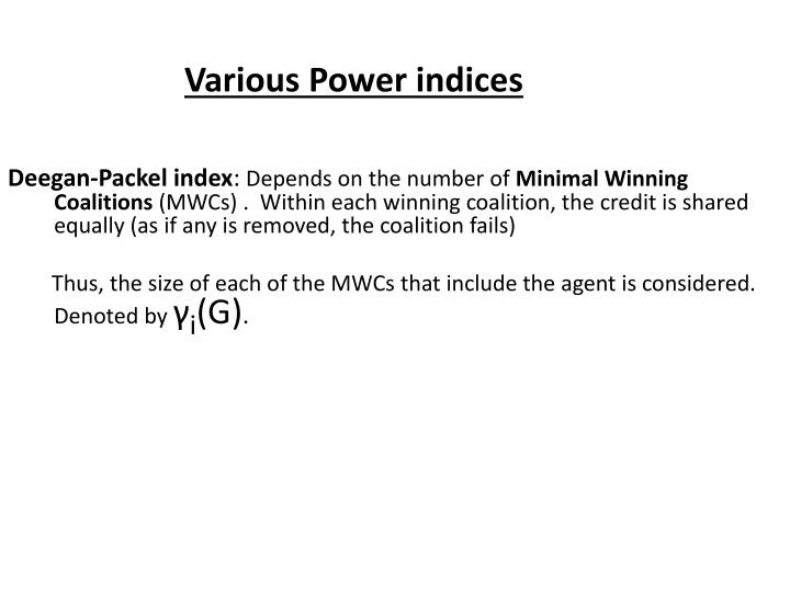 Various Power indices