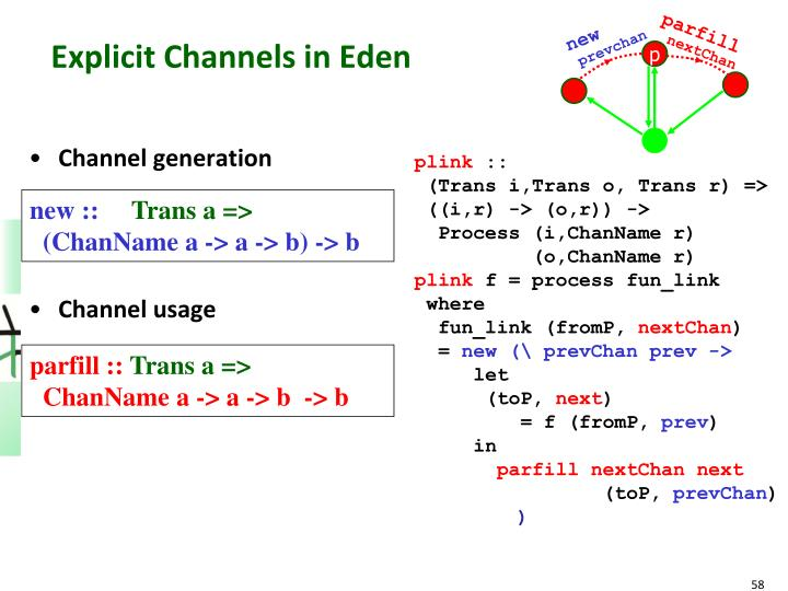 Explicit Channels in Eden