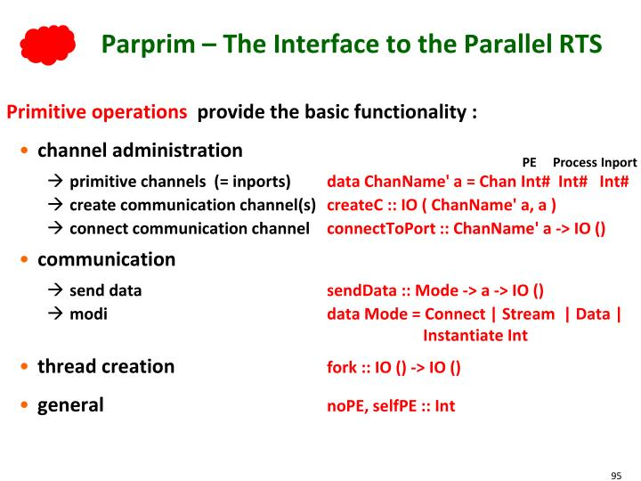 Parprim – The Interface to the Parallel RTS
