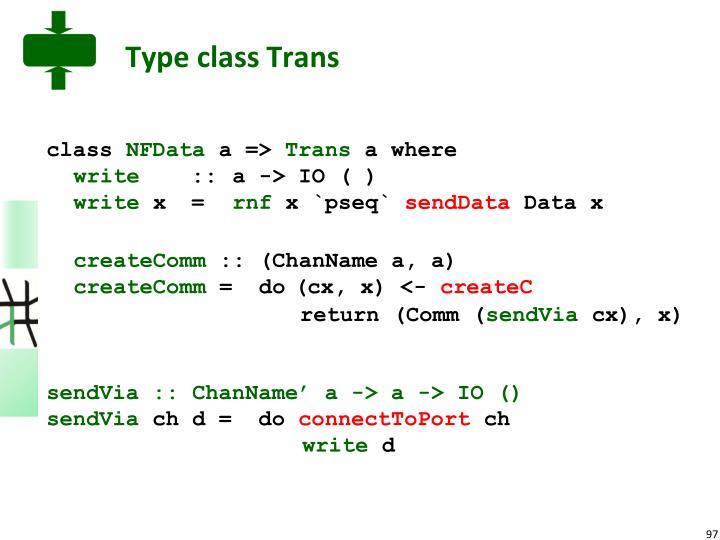 Type class Trans
