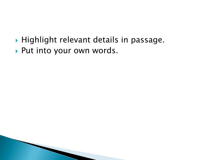 Highlight relevant details in passage.