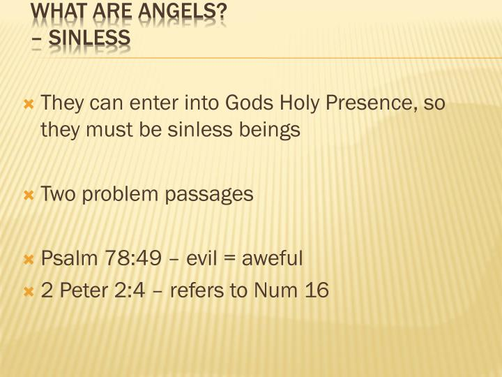 They can enter into Gods Holy Presence, so they must be sinless beings