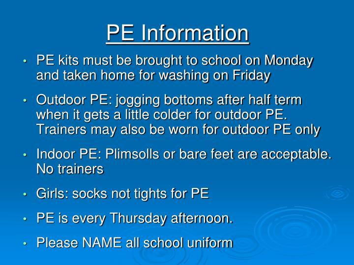 PE Information