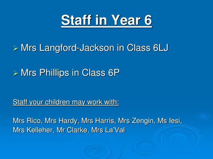 Staff in year 6