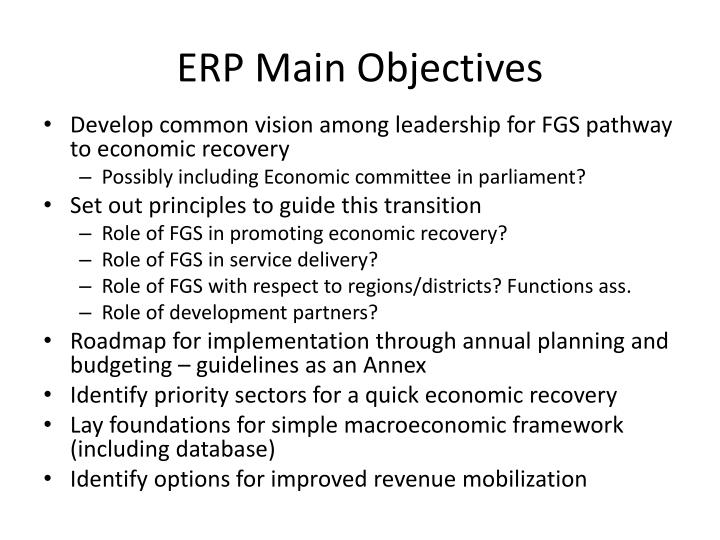 ERP Main Objectives