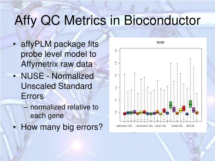 Affy QC Metrics in Bioconductor