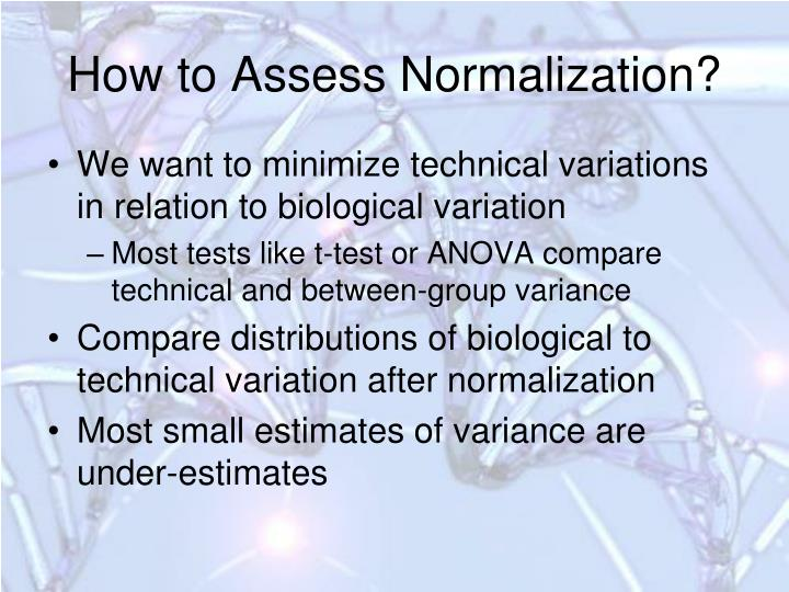How to Assess Normalization?