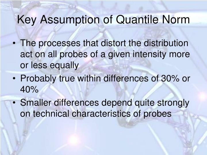 Key Assumption of Quantile Norm