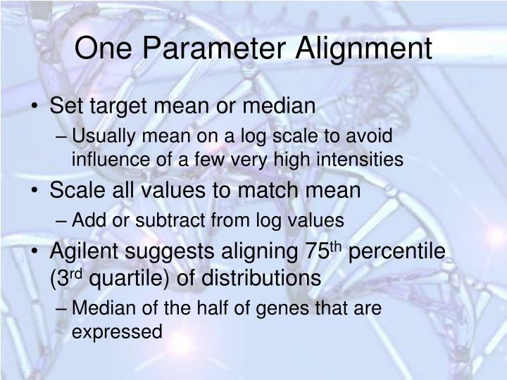 One Parameter Alignment