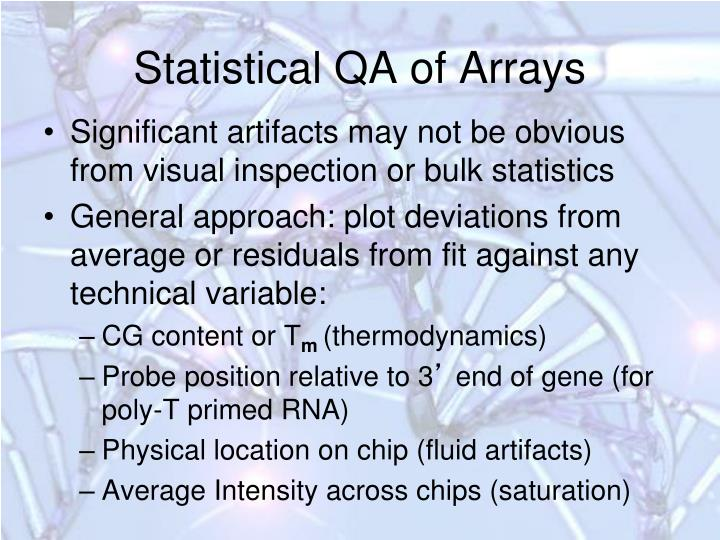 Statistical QA of Arrays