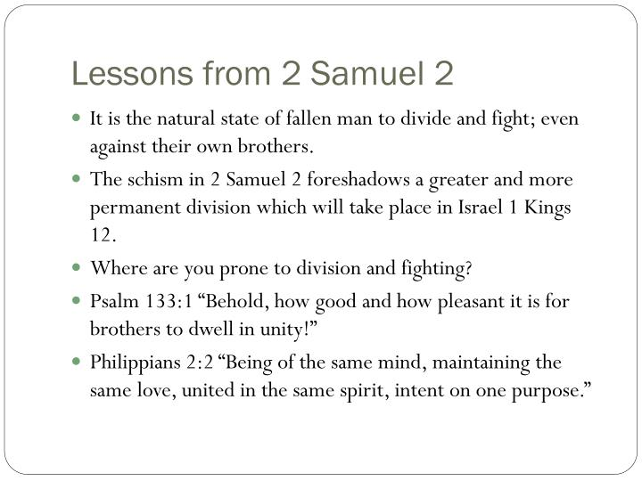 Lessons from 2 Samuel 2