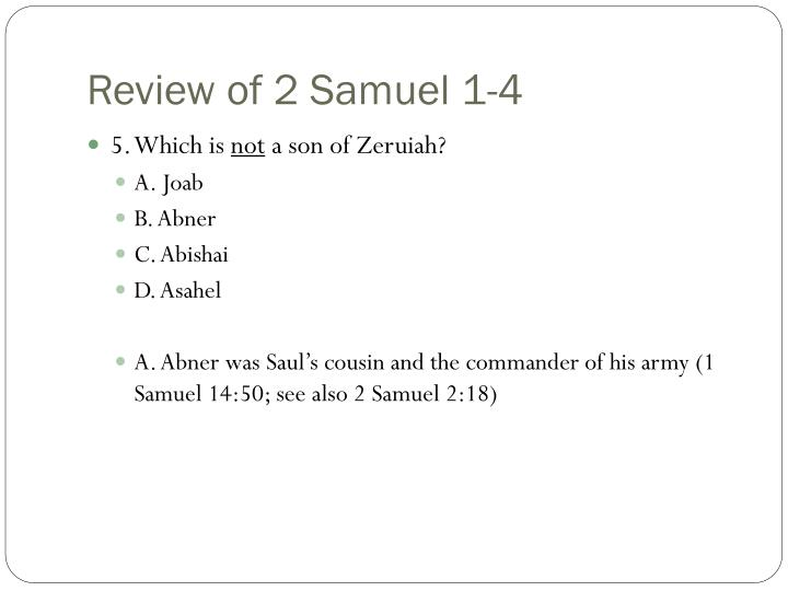 Review of 2 Samuel 1-4