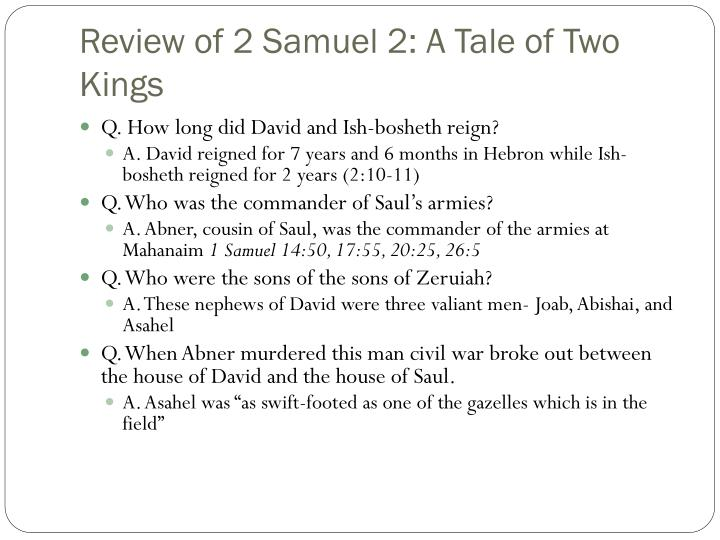 Review of 2 Samuel 2: A Tale of Two Kings