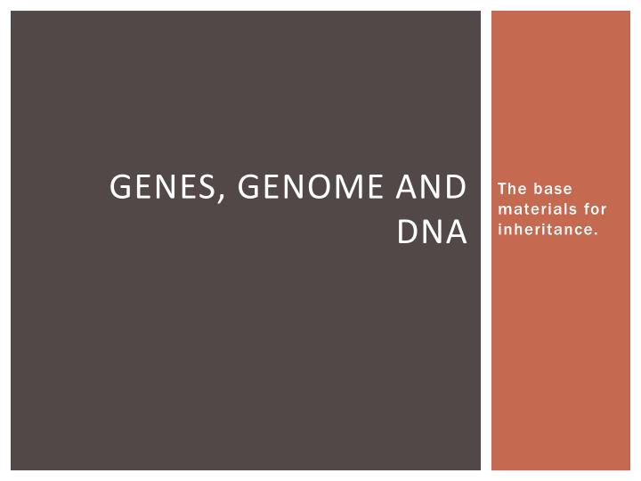 Genes genome and dna
