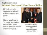 september 2010 obama convened new peace talks
