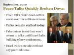 september 2010 peace talks quickly broken down