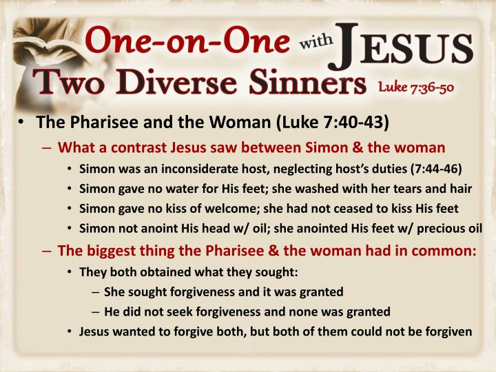 The Pharisee and the Woman (Luke 7:40-43)