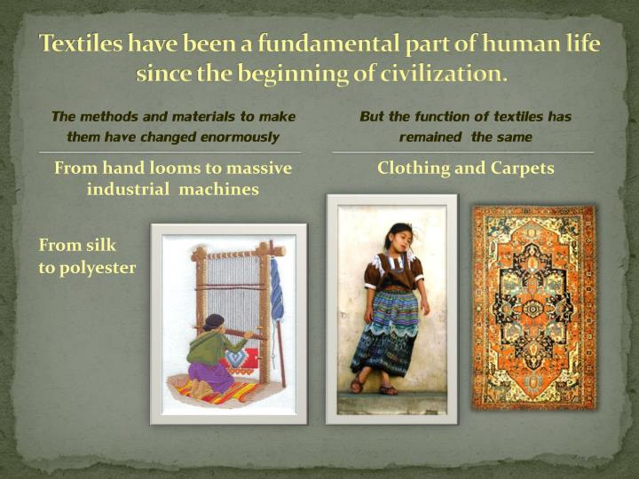 Textiles have been a fundamental part of human life