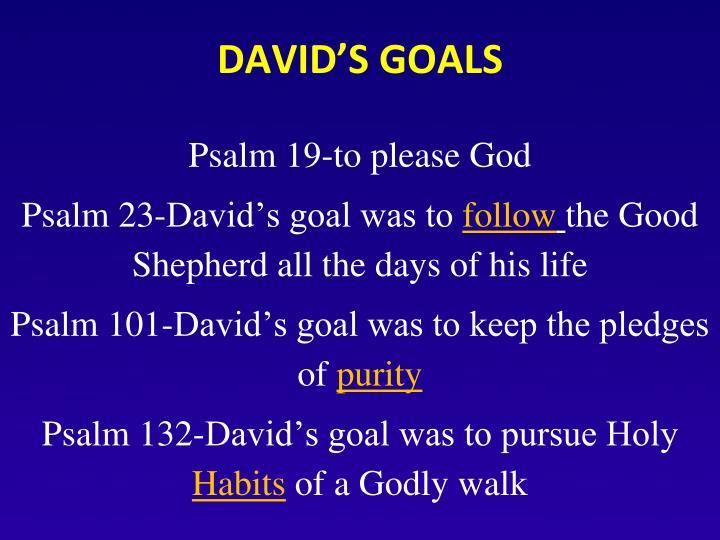 DAVID'S GOALS