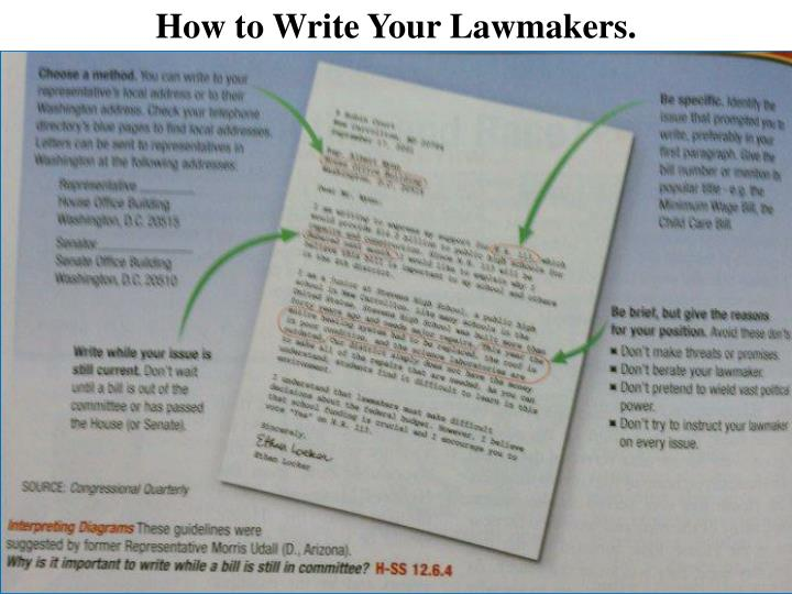 How to Write Your Lawmakers.
