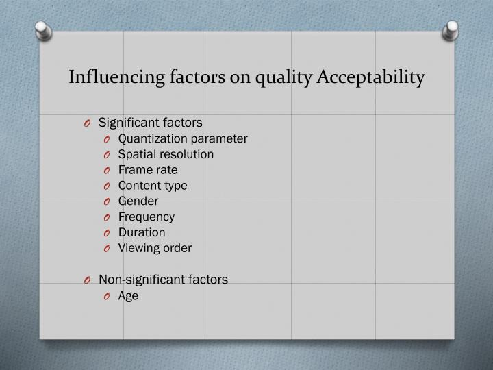 Influencing factors on quality Acceptability