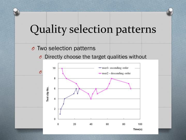 Quality selection patterns