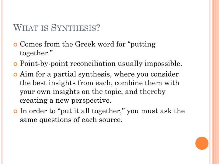 What is synthesis