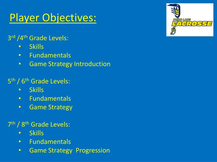 Player Objectives: