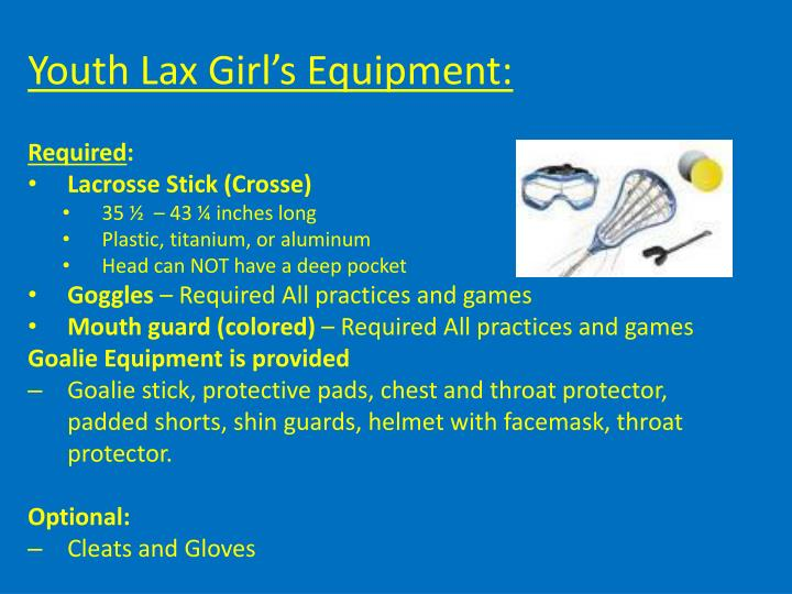 Youth Lax Girl's Equipment: