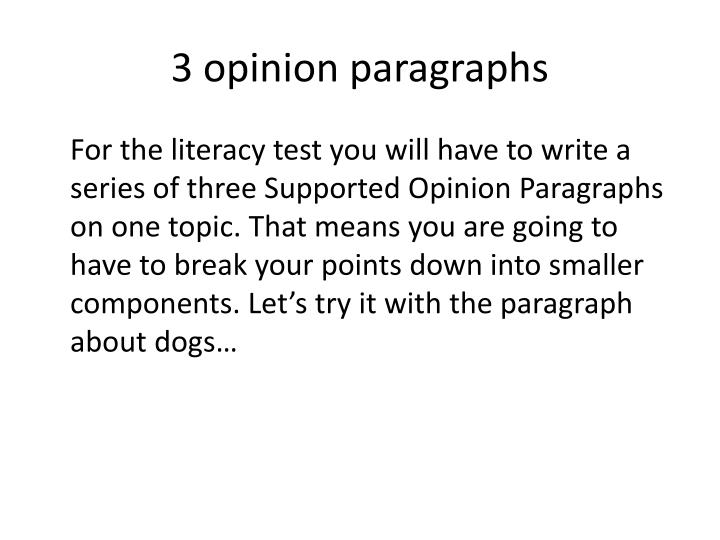 3 opinion paragraphs