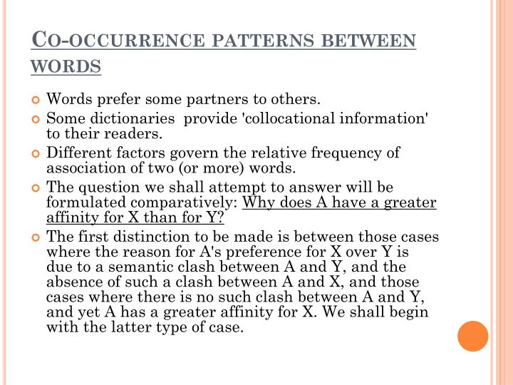 Co-occurrence patterns between words