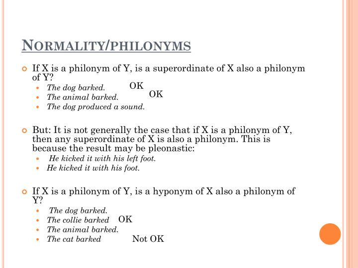 Normality/philonyms