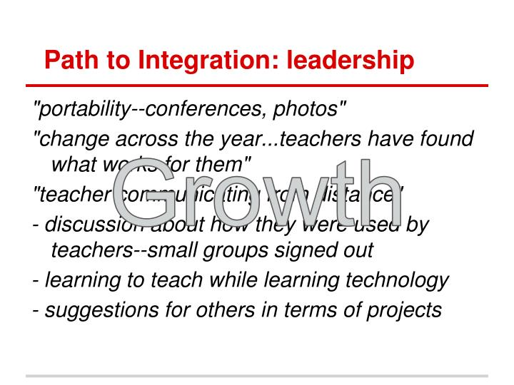 Path to Integration: leadership