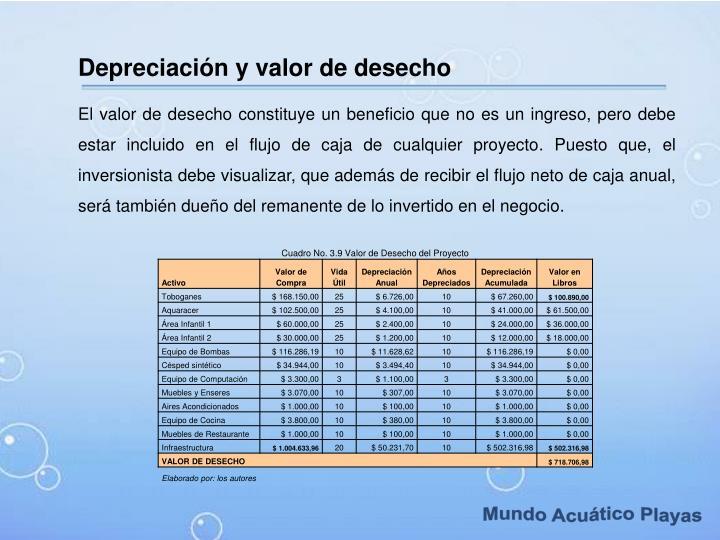 Depreciación y valor de desecho