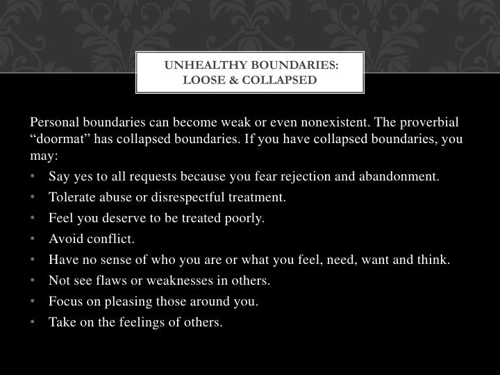 Unhealthy Boundaries: