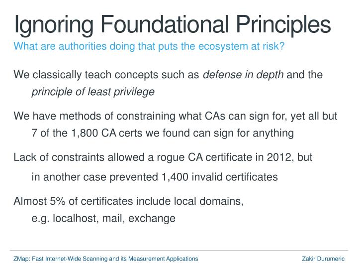 Ignoring Foundational Principles