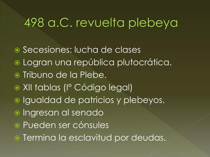 498 a.C. revuelta plebeya
