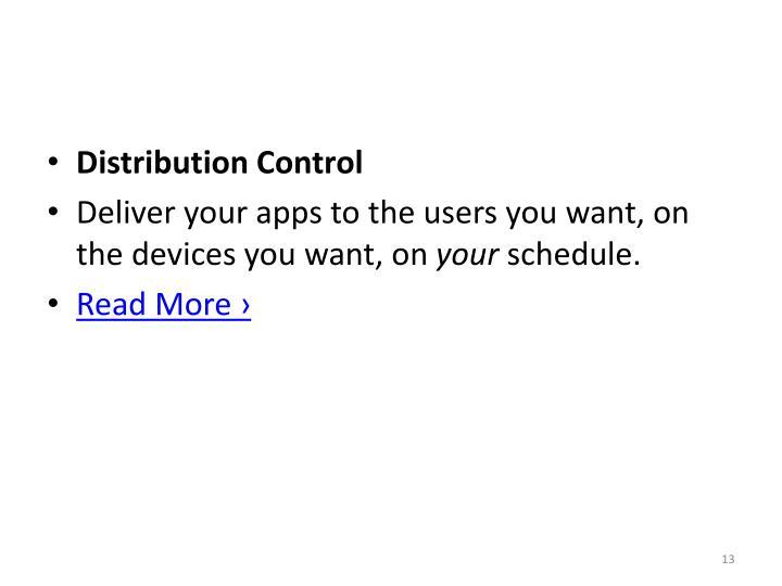 Distribution Control