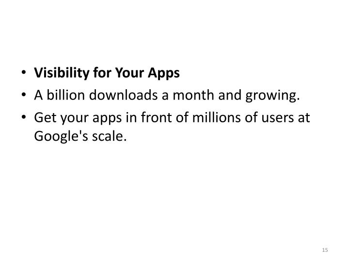 Visibility for Your Apps