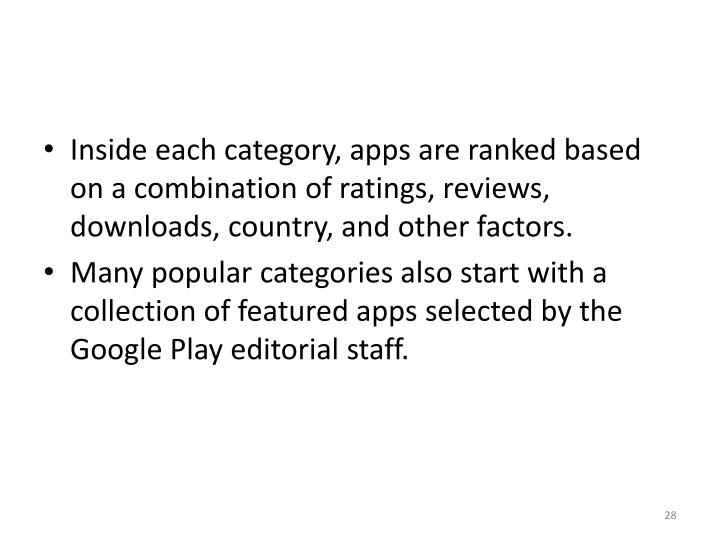 Inside each category, apps are ranked based on a combination of ratings, reviews, downloads, country, and other factors.
