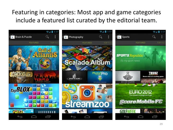 Featuring in categories: Most app and game categories include a featured list curated by the editorial team.