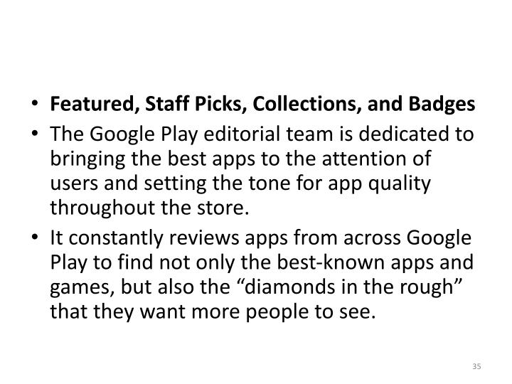 Featured, Staff Picks, Collections, and Badges